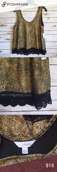 💗 Charming Charlie gold metallic Holiday blouse Size large. Stretch glam top with black lace trim at hem. Polyester, spandex. NWT Charming Charlie Tops Blouses