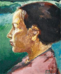 """Gro Holter"" Oil on board Painted one summerday out in the sun outside my cottage. Order similar portrait by Elin Eriksen here. The Outsiders, Portraits, Cottage, Oil, Board, Artist, Painting, Head Shots, Cottages"