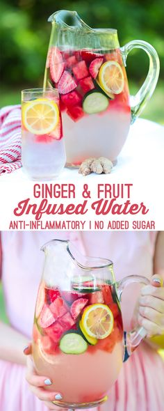 This fruit and ginger infused water is the perfect homemade refresher. It's made with ginger, watermelon, and tons of other fruits and veggies that feature added health benefits. #summerrecipe #infusedwater