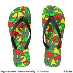 Reggae Rastafari Jamaica Weed Flag Pattern Flops
