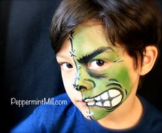 Little sewn Hulk face painting