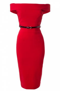 The Pretty Dress Company - Bardot Off Shoulder pencil dress in Red