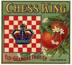 CHESS KING Vintage Los Angeles Orange Crate Label, wear