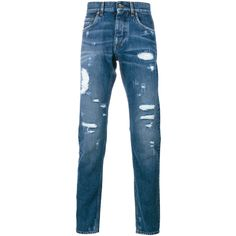 DOLCE & GABBANA Distressed Jeans (4,725 EGP) ❤ liked on Polyvore featuring men's fashion, men's clothing, men's jeans, mens torn jeans, mens distressed jeans, mens denim jeans, mens regular fit jeans and mens ripped jeans