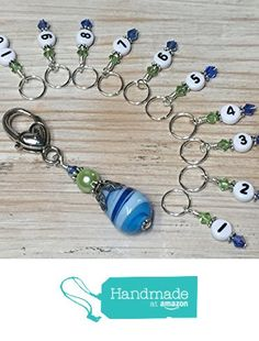 1-10 Numbered Stitch Markers for Knitting- Blue & Green from Jill's Beaded Knit Bits