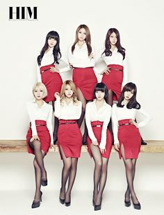 Ace of Angels AoA HIM Magazine February 2014 - Classy White & Red Blouse/Skirt Outfit, Black Transparent Tights & Black Heels