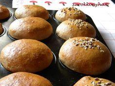 Sarokkonyha: Reggeli zsemle muffin formában sütve Torte Cake, Finger Foods, Bread Recipes, Muffin, Hamburger, Food To Make, Sandwiches, Goodies, Food And Drink