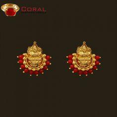 Gold Jhumka Earrings, Jewelry Design Earrings, Gold Earrings Designs, Mom Jewelry, Antique Earrings, Gold Wedding Jewelry, Gold Jewellery, Coral Ring, Ear Rings