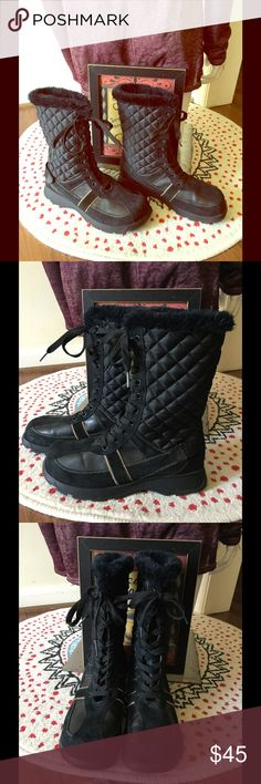 Mudd lace up quilted boots with faux fur trim Mudd lace up black quilted boots with faux fur trim, like new. Size 9.5. #PlywoodAndPearls Mudd Shoes Winter & Rain Boots