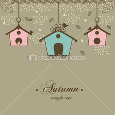 Autumn vintage design with birdhouses and leaf — Stock Vector #6504269