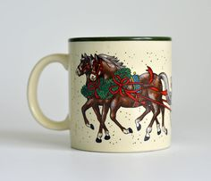 Vintage,Coffee Mug, Cup,Marvelous Mug,  Potpourri Press,Christmas Mug,Christmas Gift,Mug Horses by HoneyQueenBee on Etsy