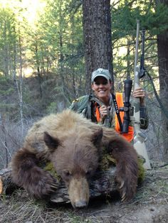 Prois Pro-Staffer Jana Waller with her 2013 color phase bear in Montana!      Check out the full line of Prois Hunting and Shooting gear for ladies at www.proishunting.com