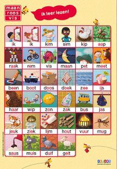 Maan roos vis Ik leer lezen! poster
