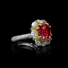 """62 Likes, 5 Comments - Dehres (@dehres) on Instagram: """"Nestled in a cluster of Tsavorites and Diamonds is an immaculate Unheated, Radiant Cut, Vivid Pink,…"""""""