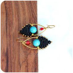 Mini macrame dangle earrings  Black turquoise blue red coral