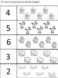 Thema dierentuin - W.I. - Werkblaadje: Kleur evenveel dieren als het cijfer aangeeft. Numbers Preschool, Preschool Worksheets, Cartoon Stickers, Learning Time, Zoo Animals, Wild Animals, African Animals, Animal Nursery, Kids And Parenting