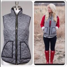 ⭐️LAST ONE!⭐️ NWT Tweed Herringbone Vest NWT Tweed Herringbone Puffer Vest. This medium-weight quilted stitch vest features a trendy black and white herringbone print. 2 front pockets and brassy gold zipper down front. 100% cotton, fully lined. Available in Large (10-12)No Trades and No PaypalPrice is firm, not eligible for bundle discount. Discounted shipping available! (Sold out of smalls and mediums) Jackets & Coats Blazers