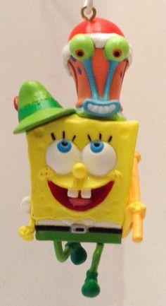 """Sponge Bob Square Pants Ornament """"Santa's Spongy Helper"""" Gary Carlton Cards 2004"""