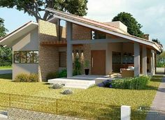 Image may contain: house, tree, plant, sky and outdoor House Design Photos, Modern House Design, Facade House, House Roof, Architect House, Architect Design, House Construction Plan, Exterior Design, Modern Exterior