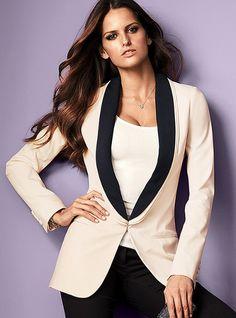Antique white, long tuxedo jacket by Victoria Secret, $148.00=113,50€