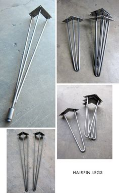 Hairpin Legs - Source for legs to build coffee tables, consoles, desks, dining tables. Small fee for custom heights.