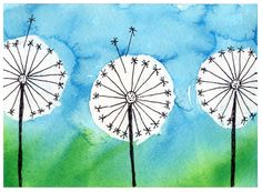 Make a Dandelion Card with rubber cement and bleeding tissue paper. #dandelion