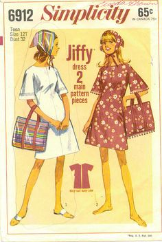 Items similar to vintage Simplicity 6912 dress Jr. size 9 bust Jiffy pattern 2 main pieces sewing pattern scarf & bag fashion, summer dress on Etsy Robes Vintage, Vintage Dresses, Vintage Outfits, 1960s Dresses, Vintage Dress Patterns, Clothing Patterns, 60s Patterns, 1960s Fashion, Vintage Fashion