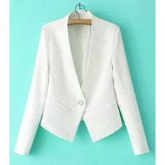 Wholesale Graceful Plunging Neck Long Sleeve Solid Color One Button Design Women's Blazer (WHITE,M) | Everbuying