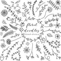 Lettering Fonts Discover Floral elements floral hand drawn decoration clipart floral clip art doodles flowers wedding clipart sketch lines lineart blacklines leaves Art Floral, Floral Doodle, Floral Drawing, Drawing Flowers, Cactus Doodle, Doodle Lettering, Hand Lettering, Doodle Drawings, Doodle Art