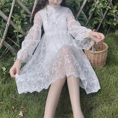Material: made of lace Size: S/M/L/XL Color: White Size for reference: Size Shoulder Bust Waist Length Sl Material: made of lace Size: S/M/L/XL Color: White Size for reference: Size Shoulder Bust Waist Length Sleeve Length S M L XL 10 Kawaii Dress, Kawaii Clothes, Cute Fashion, Look Fashion, Gothic Fashion, Fairy Clothes, Fairy Dress, Gothic Lolita, Gothic Girls