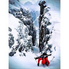 Arc'teryx athlete Thibaud Duchosal climbing chutes in Italy to turn around and ski right back down them.  Photo: Angela Percival