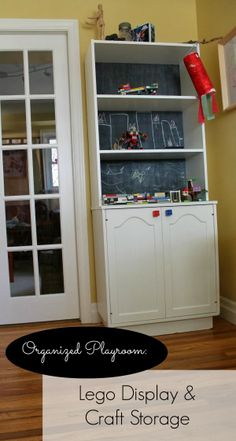 Frugal Family Times: An Organized Playroom: Interactive Lego Display and Craft Storage (for Organized Playroom, Home Office Organization, Organizing Your Home, Clutter Organization, Organization Ideas, Teen Bedroom Designs, Playroom Design, Kid Playroom, Playroom Ideas