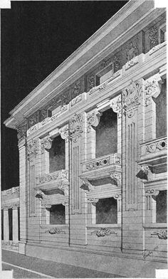 Sketch of the palace for the tycoon in Budapest. Architect Ladislaus Fiedler. The architecture of the second half of the XIX century. Drawings and sketches.