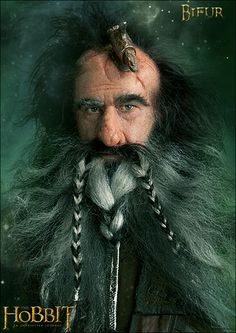 Bifur, along with his cousins Bofur and Bombur, was a companion to Bilbo Baggins and Thorin Oakenshield on the quest of Lonely Mountain (Erebor). [link] The Hobbit - An unexpected Journey - Bifur Hobbit Dwarves, O Hobbit, Tauriel, Thranduil, Legolas, Smaug Dragon, Facial Expressions Drawing, Hobbit An Unexpected Journey, Movie Co
