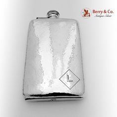 American sterling silver large hammered liquor flask with monogram L, capacity 1 pints. Hammered Silver, Antique Silver, Sterling Silver, Pints, Flasks, Liquor, Bottles, Monogram, American