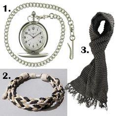 Men's Accessories - Knitted Scarf, Crochet Braided Bracelet