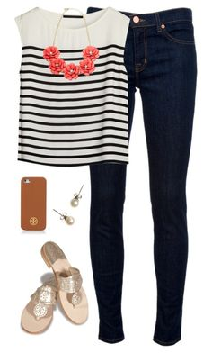 """""""stripes & roses"""" by classically-preppy ❤ liked on Polyvore featuring J Brand, Jack Rogers, Bruuns Bazaar, Tory Burch and J.Crew"""
