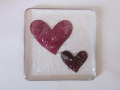 Handmade fused glass coaster - copper swirly hearts in clear glass - Valentine £8.00