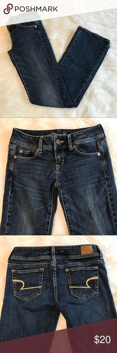 """AEO slim boot jeans American Eagle slim boot jeans in excellent used condition. Size 0 regular, waist 15"""" inseam 30.5"""". Dark wash denim American Eagle Outfitters Jeans"""