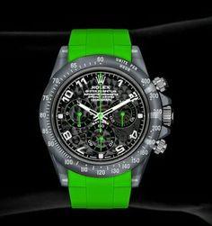Fancy Watches, Dream Watches, Luxury Watches For Men, Cool Watches, Rolex Watches, Daytona Watch, Rolex Cosmograph Daytona, Camera Watch, Green Accents
