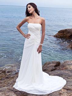 Sheath/Column Plus Sizes Wedding Dress - Ivory Chapel Train Strapless Chiffon - USD $179.99