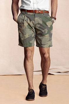 Mens Pleated Camo Shorts from Lands End