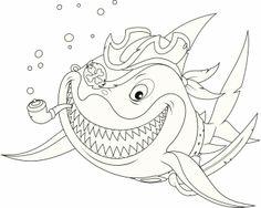 Coloriage pirate : Mr Requin sourit de toutes ses dents
