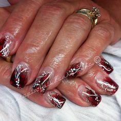 Red feathers with red and silver gel. Hand painting.