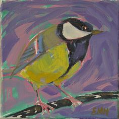 Original bird oil painting / birds / Titmouse / by NielsenDenmark