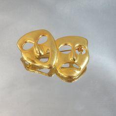 Vintage Comedy Tragedy Masks Brooch Gold Tone Drama by waalaa