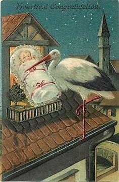 stork and baby Vintage Cards, Vintage Postcards, Nurse Pics, Hearty Congratulations, Delivering A Baby, Vintage Nurse, Little Birdie, Baby Love, New Baby Products