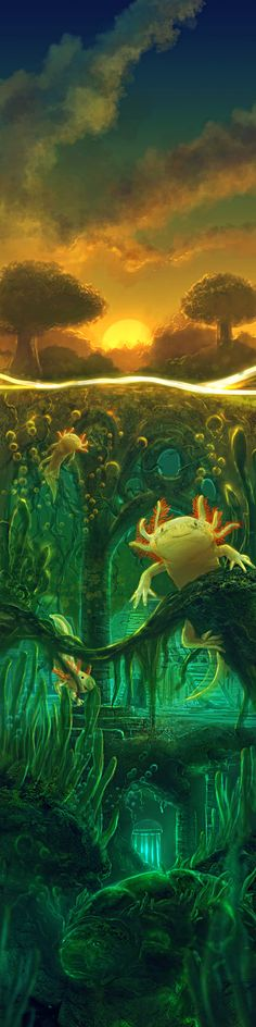 Axolotl Waters by ~Kamikaye on deviantART