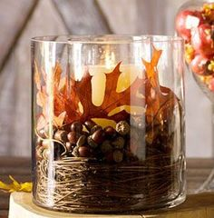 twigs, acorns & leaves to make an inexpensive, rustic fall centerpiece