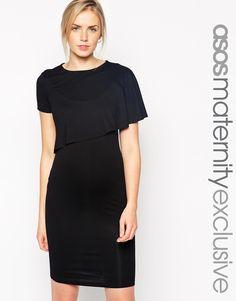 88ca8af758e3c ASOS Maternity NURSING Shift Dress With Asymmetric Overlay at asos.com